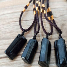 Charm Natural Black Tourmaline Stone Pendant Necklace Crystal Gem Specimen