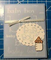Baby Boy Card Boy Blue White Ribbon Baby Bottle 3D