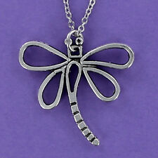 Large Dragonfly Necklace - Pewter Charm on Cable Chain - Adjustable Insect NEW