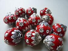 KASHMIRI Indonesische Perle Kugel oval rot silber 18 x 21 mm Metall 2861