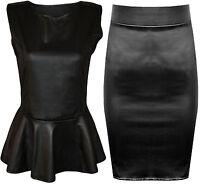 New Plus Size Black Shiny Wet Look Peplum Skater Flared Top Midi Skirt 16-26
