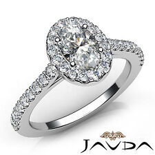 Oval Diamond Flawless Engagement GIA F VS2 U Cut Prong Set Ring Platinum 950 1Ct