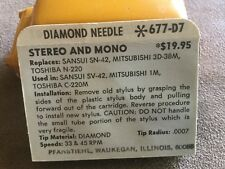 Vintage NOS Pfanstiehl Turntable Record Player Needle # 677-D7