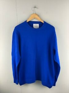 St Johns Bay Men's Blue Knit Long Sleeve Crew Neck Pullover Sweater Size Large