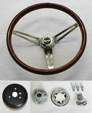 "High Gloss Real Wood Steering Wheel to fit Ididit Column 15"" with Plymouth cap"