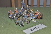 25mm medieval / english - men at arms 8 figs cavalry - cav (21851)