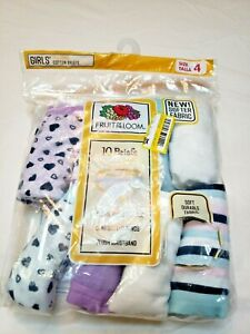 Fruit of the Loom Girls 8 Pack Briefs Panties Size 4 Purple Stripes Hearts CUTE