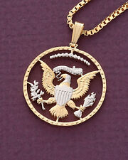 "Eagle Pendant & Necklace Half Dollar Coin Hand cut -  7/8"" diameter ( # 319B )"
