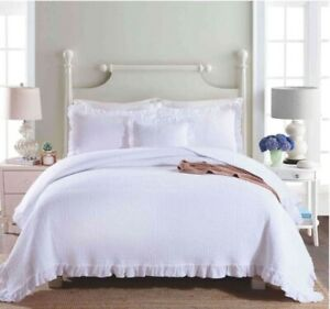 Vintage White Chic Shabby Country Ruffle King Bed Quilt Coverlet Bedspread Set