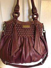 Lockheart Genuine Leather studded large magnetic snap tote satchel Basket Bag