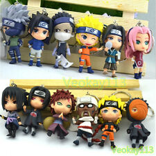 12pcs Set Naruto Keychain Key Ring Chain Sasuke Kakashi Manga Cute Toys
