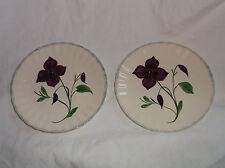"""2 Blue Ridge Southern Potteries Fondeville Fleurs 8 1/2"""" Plates Purple Flowers"""