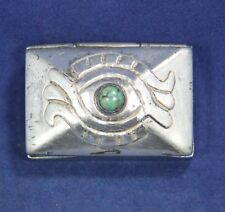 "Vintage Taxco Mexico Silver Hinged Trinket, Pill, Vanity Box 1 1/4"" x 3/4"""