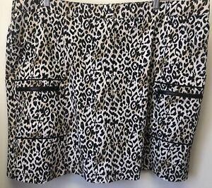 Chicos Zenergy Golf Women's Skort Size 4 Regular XXL 2X Leopard Animal Print