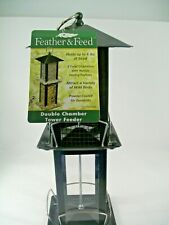 Bird Feeder Feather & Feed Double Chamber Tower Bird Feeder Holds 4 Lbs Seed