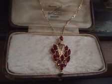 Vintage Ruby Red Navette Crystal Pendant Necklace with Gold Figaro Chain