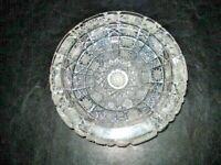 Vintage Clear Cut Glass Crystal Ashtray- Round- Mid Century Heavy-
