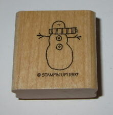 Snowman Rubber Stamp Winter Snow Stampin Up Retired Design Scarf Wood Mounted