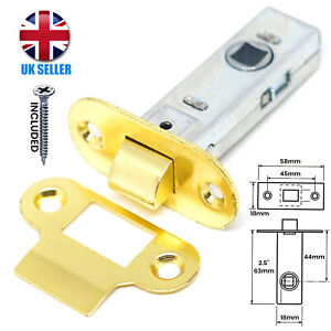 """RADIAL ROUNDED 2.5""""/64mm Brass Tubular Mortice Latch Internal Door Handle Catch"""