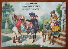 Victorian Trade Card Black Americana Horse Greyhound Dog Catskill NY Boots Shoes