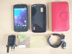 16GB LG Google Nexus 4 E960 Fully Unlocked Black Smartphone BUNDLE