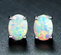 Fashion 925 Silver Fire Opal Women Ear Stud Dangle Earrings Wedding Paty Jewelry