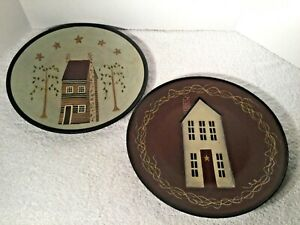 Set of 2 Hearthside Collection COUNTRY FOLK ART DONNA WHITE HOUSE WOOD PLATEs
