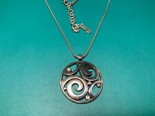 """BRIGHTON Silver Round Scroll Crystal Pendant  Necklace 16-18"""""""