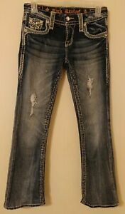 💖Womens ROCK REVIVAL STACEY Bling Rhinestones Distressed Boot Cut Jeans 25x27