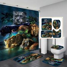 Lion Tiger Leopard Shower Curtain Bath Mat Toilet Cover Rug Bathroom Decor