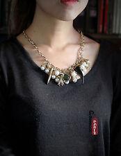 Collier Charms Pendantif Perle Corne Ox Noir Baroque Vintage Original QT8