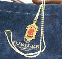 "Antique 1890's Carnelian Agate Shield Pendant 10K Solid Gold Womens Necklace 18"""