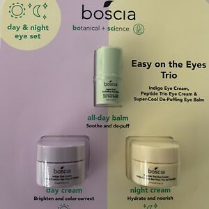 Boscia Easy on the Eyes Trio Eye Indigo Cream Peptide Trio De-Puffing Balm Set