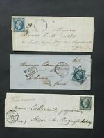 France 1854-59-61:3 letters with text, 20c different NAPOLEON stamps, Cat. n°14