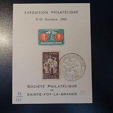 N°585 SUR BLOC FEUILLET SOUVENIR EXPOSITION PHILATÉLIQUE SAINTE FOY LA GRANDE