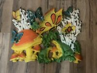 Vintage 1970's Homco Psychedelic Mushroom Frog Butterfly Hanging Wall Art Plaque