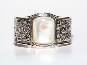 ARTISAN CRAFTED STERLING BOLD MOTHER OF PEARL CUFF (M797-18)