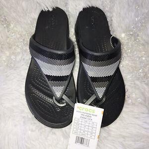 CROCS Monterey Sandals Flip Flops Bead Stripe Ombre Black Gray Thong Womens Sz 7