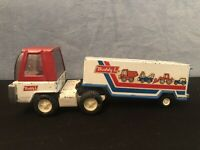 Rare Vintage Buddy L Red / White / Blue Semi Trailer and Semi Cab. Old Toy