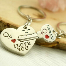 1 Pair Heart Cute Couple Keychain Keychain I LOVE YOU Key Ring Silver Craft