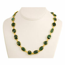 Natural Green Emerald Faceted Necklace 14k gold Fill chain Bezel Set 24 Inch