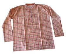 Men Kurta Indian Handmade Traditional Summer 100% Cotton Fashion T-Shirt