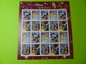 Stamps US * Sc 4025-4028 * THE ART OF DISNEY ROMANCE * 2006 * Sheet of 20 * 39c