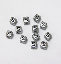 "6mm Silver Metallic Alphabet Beads Black Letter ""S"" 100pc"