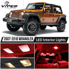 2007-2018 Jeep Wrangler Red LED Interior Lights Package Kit + License Light
