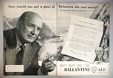 Henry Morton Robinson for Ballantine Ale 2-Page PRINT AD - 1952 ~~ beer