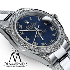Women's 31m Rolex Oyster Perpetual Datejust Custom set Diamonds Blue Color Roman
