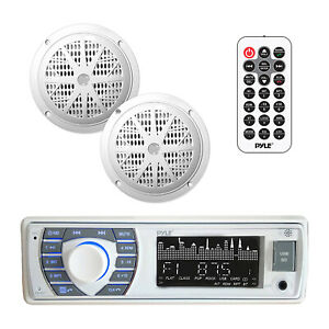 Pyle PLMRKT36WT 5.25 Inch Bluetooth Marine Stereo Receiver & Speaker Kit, White