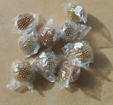 Dept 56 Glittery Silver Gold and Copper Porcupine Christmas Ornaments Lot of 8