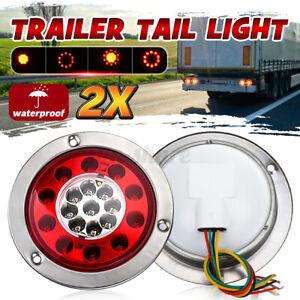 2pcs 4.3'' 19LED  Round Truck Trailer Lorry Brake Stop Turn Tail Light Chrome